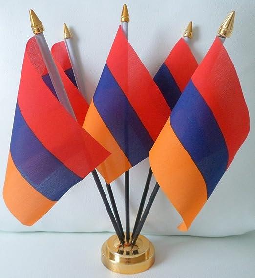 Armenia Armenio 5 Bandera Desktop mesa pantalla con base dorada ...