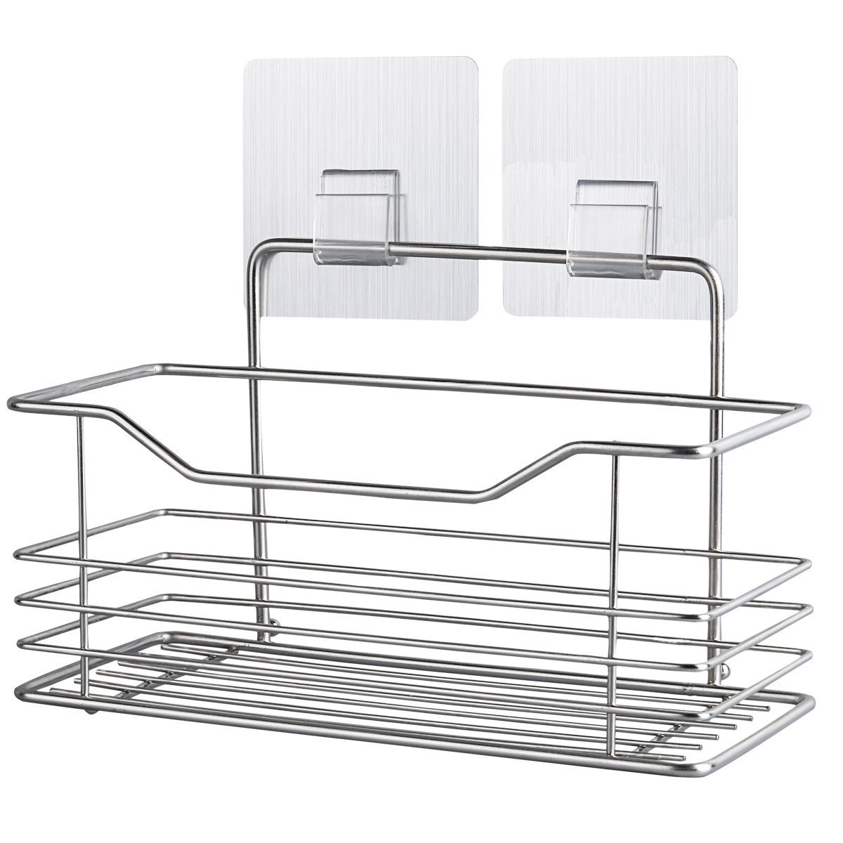 COOLWEST Shower Caddy Basket for Shampoo Wall Adhesive Stainless Steel Organizer Holder for Kitchen Bathroom Toilet Accessories 8.6''