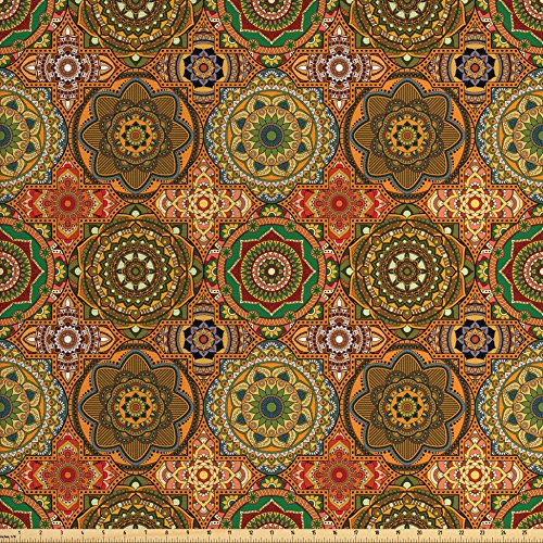 Lunarable Mandala Fabric by The Yard, Vintage Ornamental Composition from Middle Eastern Folklore with Blooming Flowers, Decorative Fabric for Upholstery and Home Accents, Multicolor
