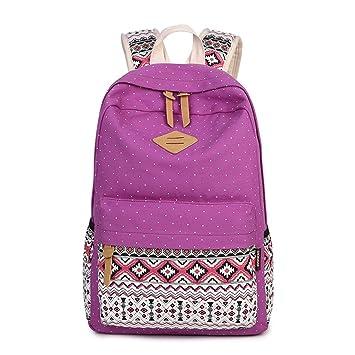 Impresión de lona Mochila Mujer mochilas escolares para niñas adolescentes Bolsa mochila portátil Vintage logo mochilas escolares hembra violeta: Amazon.es: ...