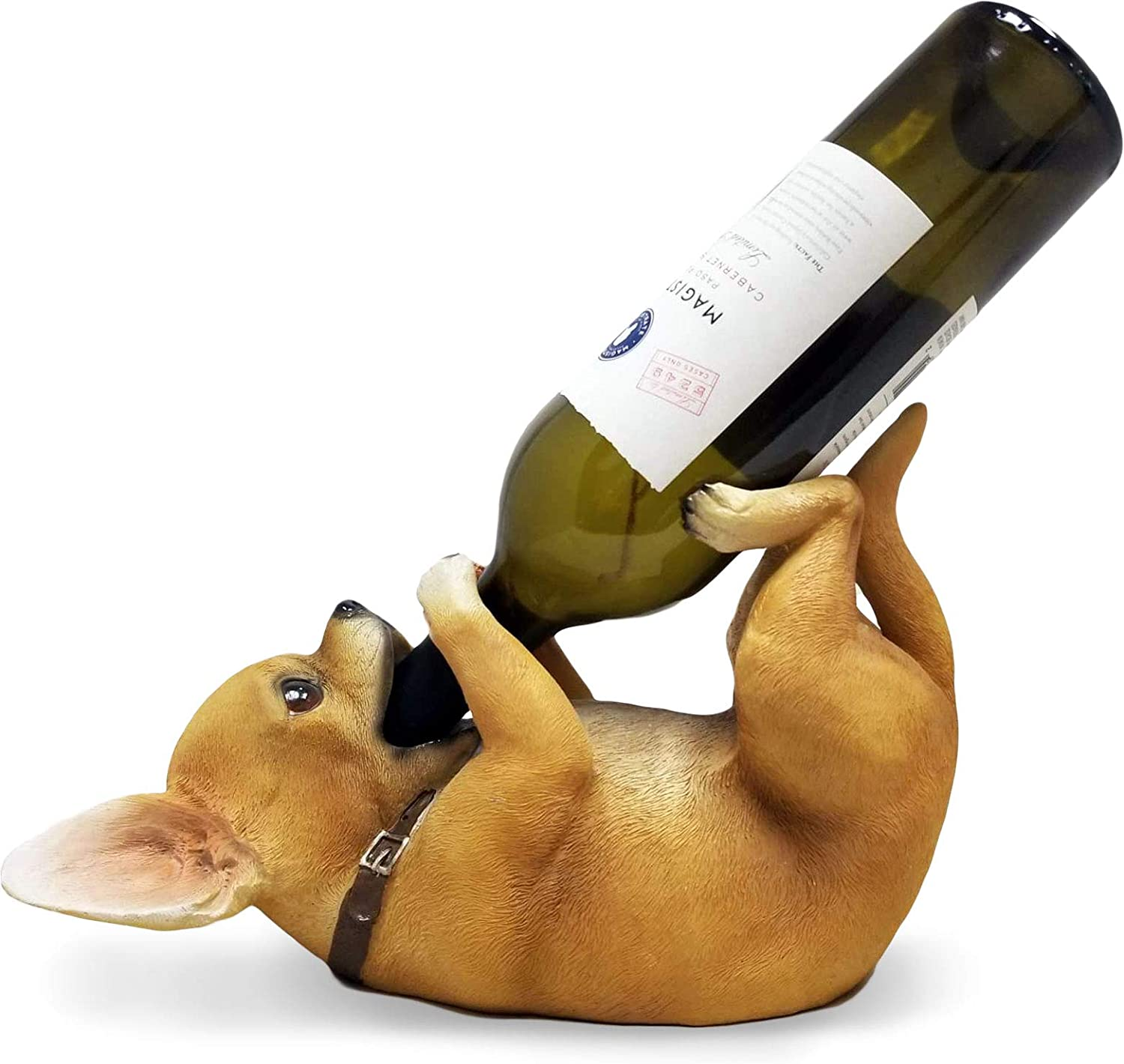 DWK - Tiny Tippler - Chihuahua Guzzler Tabletop Wine Holder Display Figure and Bottle Caddy Puppy Dog Novelty Home Décor Kitchen Accessory Dining Accent, 11-inch