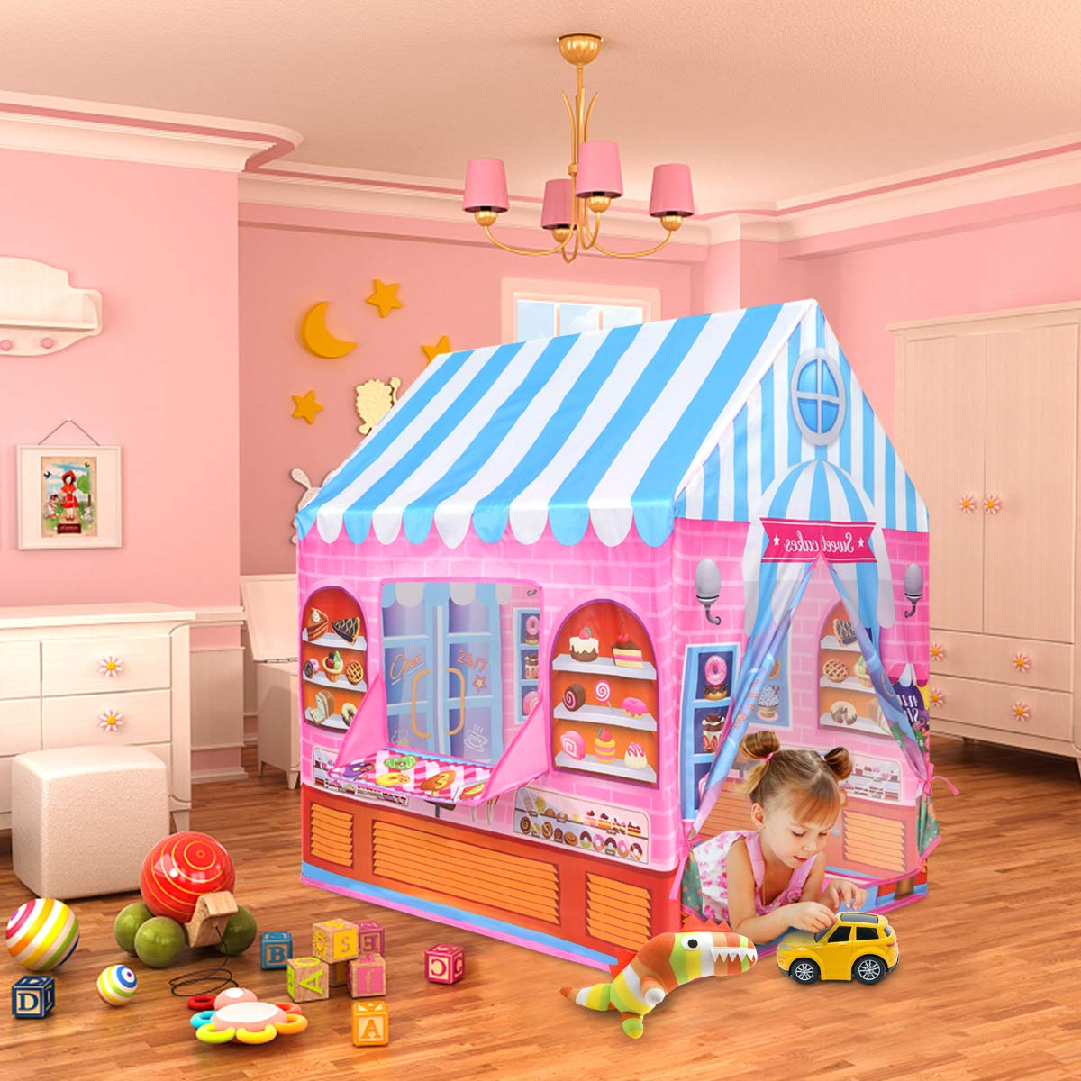 Anyshock Playhouse for Kids Tent Candy Castle Play House for 1-6 Year Old Children Boys Girls Baby Indoor Outdoor Gifts Toys Pink