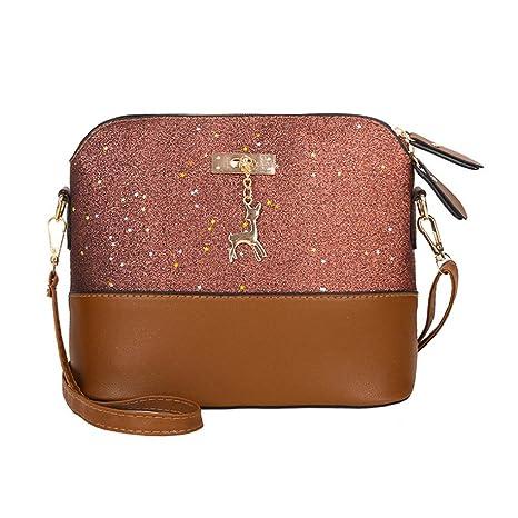 Malloom® Damen Leder Crossbody Tasche Pailletten kleine Hirsch Umhängetaschen Messenger Bag Frau Pailletten Fawn Leder Shell