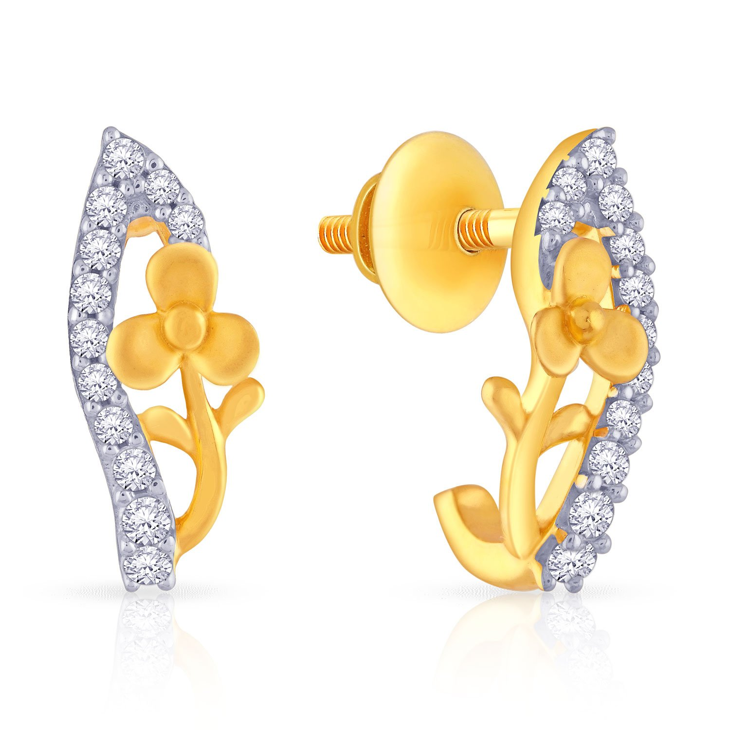 ecf404e8f Buy Malabar Gold and Diamonds Collection 22k Yellow Gold and Cubic Zirconia  Stud Earrings Online at Low Prices in India | Amazon Jewellery Store -  Amazon.in