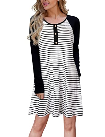 e0586191c083 Blooming Jelly Ladies Striped Dress Lace Button Long Sleeve Swing Jumper  Winter T Shirt Dresses for Women  Amazon.co.uk  Clothing