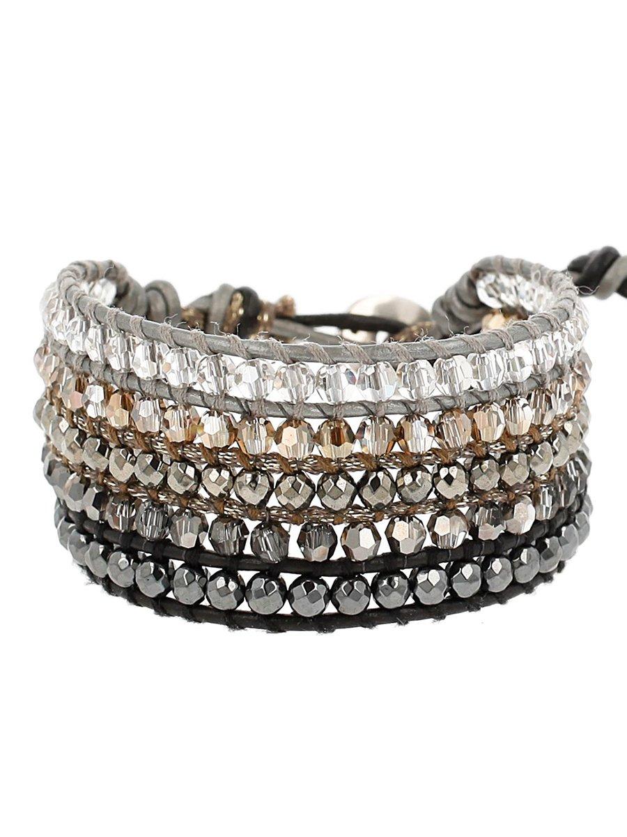 Chan Luu Hematite Mix of Semi Precious Stones and Crystal Accents Adjustable Bracelet