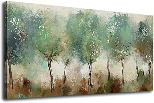 Forest Wall Art Green Trees Canvas Art Modern Abstract Woods Canvas Pictures Contemporary Canvas Artwork