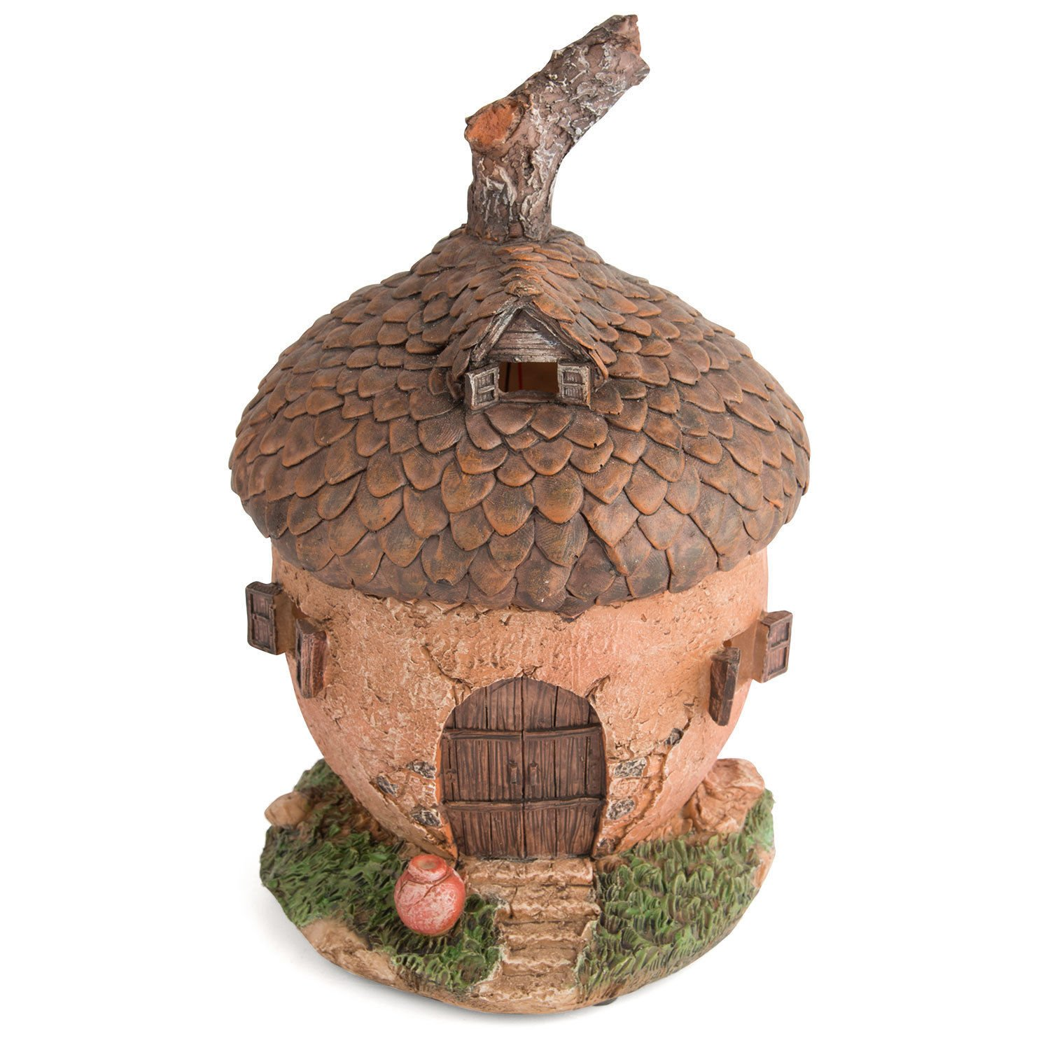 Garden Glows Solar Powered LED Fairy House Light Acorn Ornament Whisper Rose by Garden Glows