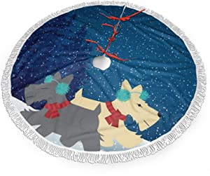 NDZHZEO Christmas Tree Skirt let it Snow Scottish Terrier Tree Skirt with Tassel Xmas Tree Mat for Christmas Decoration New Year Party Holiday Ornaments 36 Inch