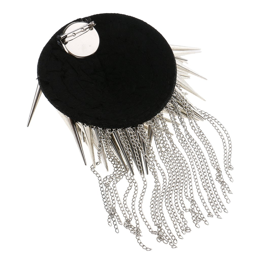 Baosity 1 Pair Metal Cloth Silver Gold Chain Tassel Brooch Epaulet Shoulder Board Mark Punk - Silver by Baosity (Image #5)