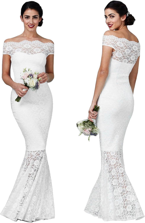Goddiva Damen Brautkleid Hochzeitskleid Spitze Meerjungfrauen