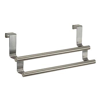 InterDesign Forma Toallero colgante para puerta, portatoallas doble en acero inoxidable, plateado: Amazon.es: Hogar