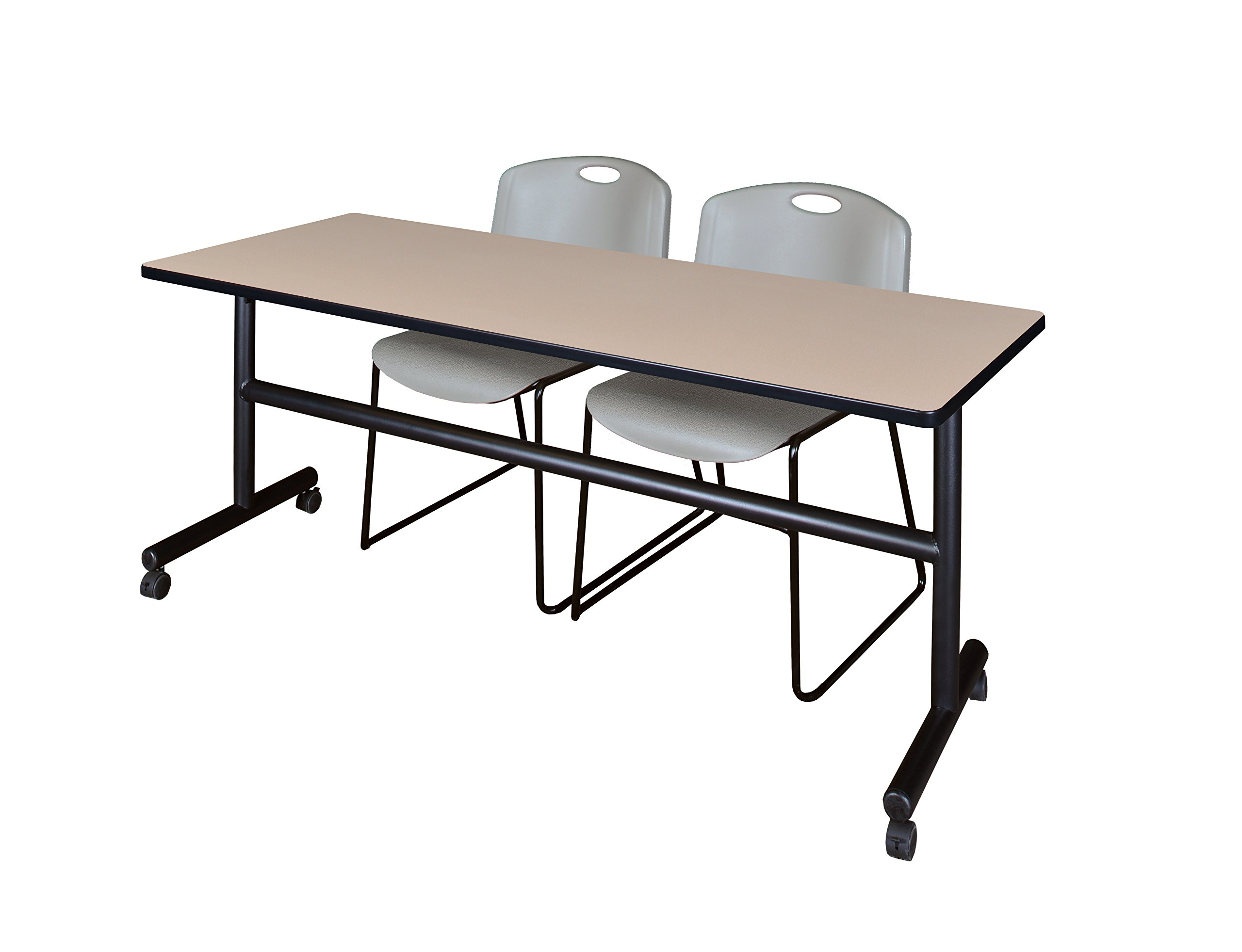 Kobe 72'' Flip Top Mobile Training Table- Beige & 2 Zeng Stack Chairs- Grey