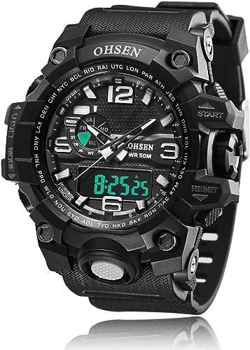 Hombre Deporte Militar reloj de Digital Cuarzo Reloj de pulsera de lujo Digital alarma doble Relojes multifunción analógico cronógrafo de fecha