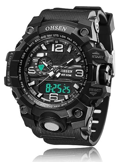 6e2557b6f187 Hombre Deporte Militar reloj de Digital Cuarzo Reloj de pulsera de lujo  Digital alarma doble Relojes multifunción analógico cronógrafo de fecha   Amazon.es  ...