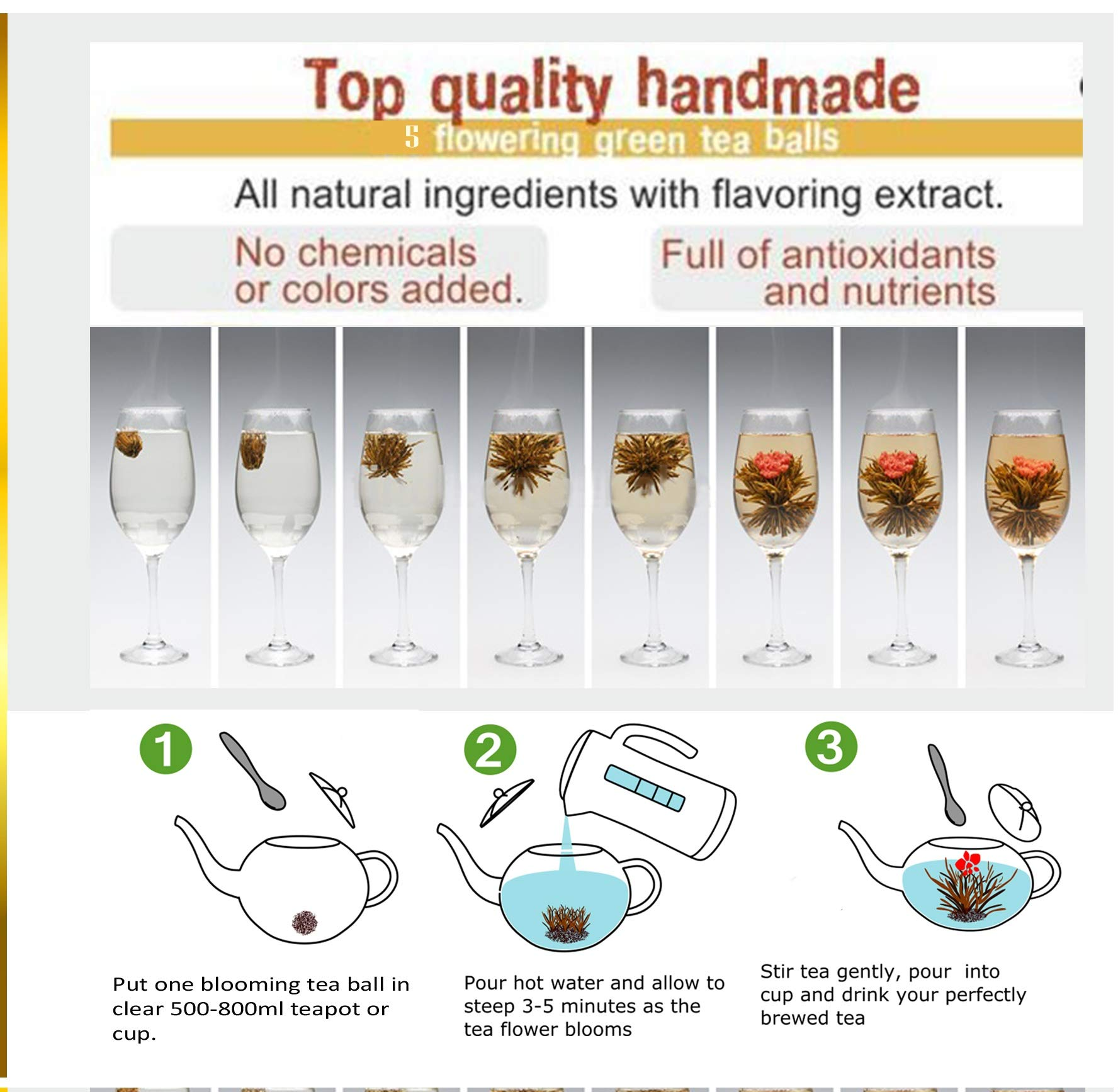 Five Star Gift Blooming Tea Set: 750ml Glass Teapot with Filter Infuser with 5 Flowering Tea Balls