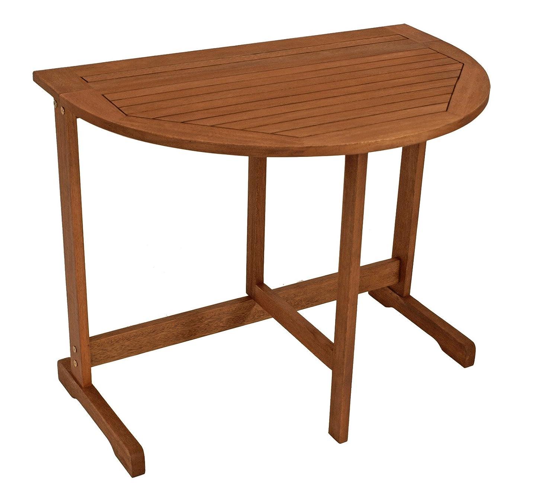 gartenmoebel-einkauf Klappentisch halbrund 90x60cm aus Eukalyptus Holz, FSC®-zertifiziert