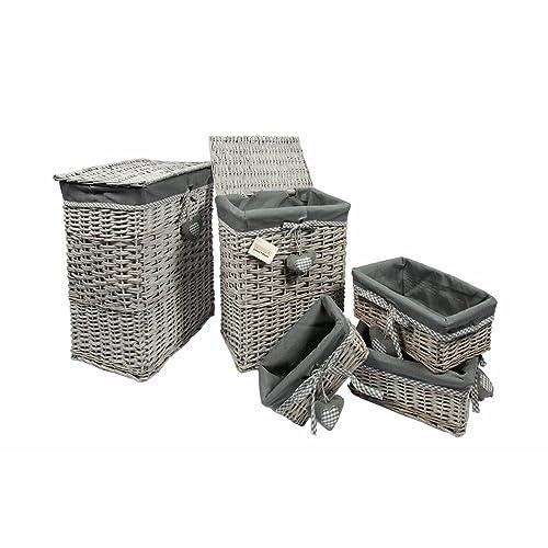 Grey Wash Wicker Storage Basket: Grey Storage Baskets: Amazon.co.uk
