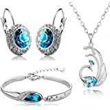 Valentine Gift by Shining Diva Blue Crystal Combo Jewellery of Necklace Set/Pendant Set with Earrings & Bracelet for Women & Girls