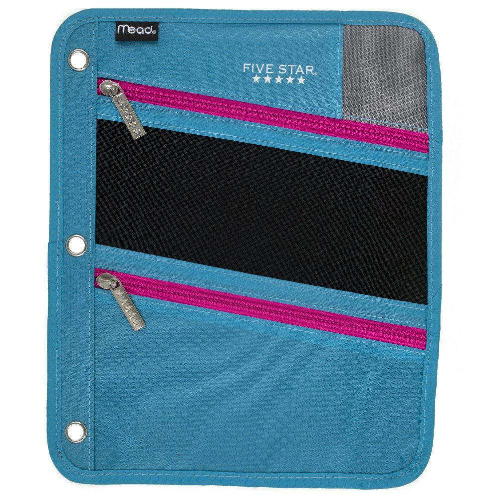 Five Star Zipper Pouch, Pencil Pouch, Pen Holder, Fits 3 Ring Binders, Teal / Bright Pink (50642BG7)