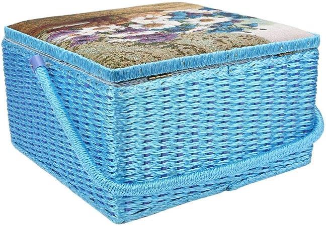 Liukouu Organizador de cestas de Coser, Estilo Europeo Caja de Coser para el hogar Cesta de Costura para Agujas Pasadores de Hilo Kit de Costura de Cinta Caja de Almacenamiento: Amazon.es: Hogar