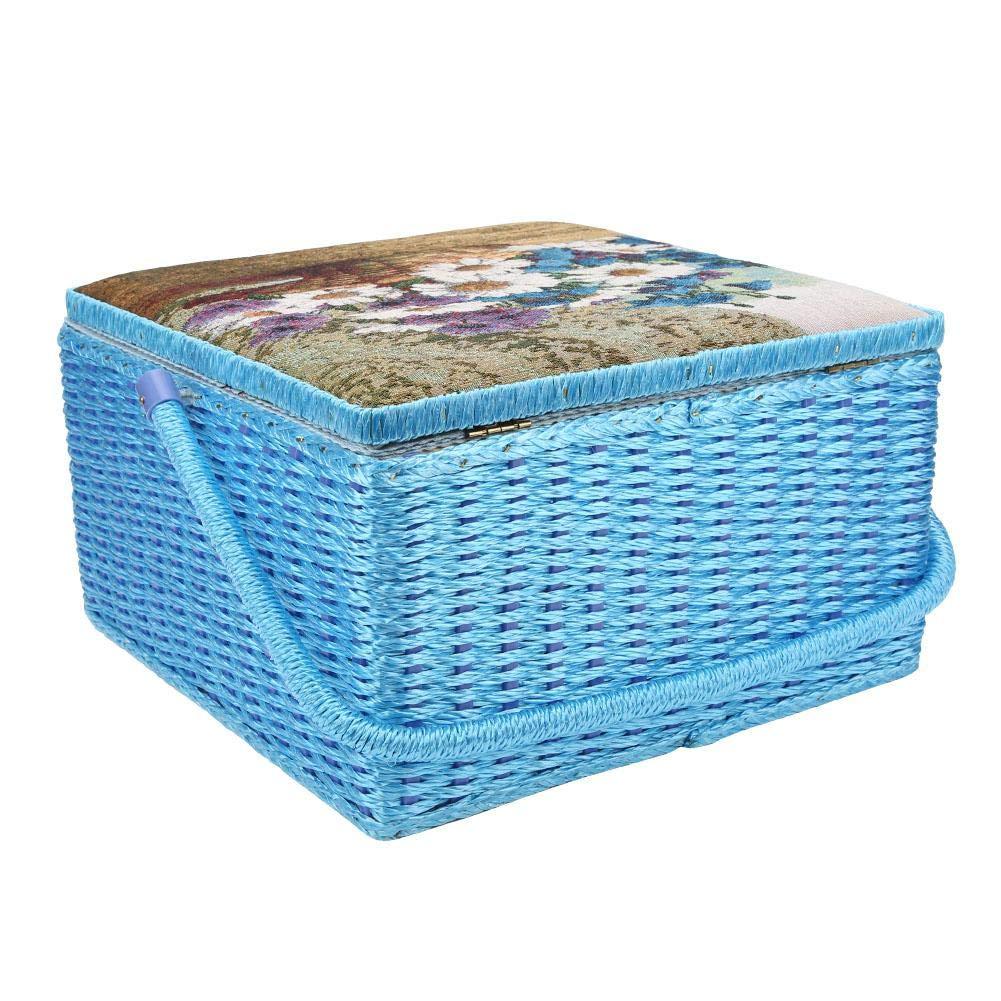 Caja de coser multifunci/ón Estilo europeo Cesta de almacenamiento de costura en el hogar Caja de costura interna de doble capa Contenedor Miscel/áneas Organizador Caja de almacenamiento de hilos