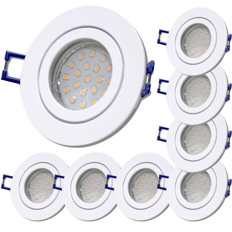 10 St/ück IP44 SMD Modul Bad Einbauleuchte Neptun 230 Volt 5 Watt Rund Farbe BiColor Lichtfarbe Warmwei/ß