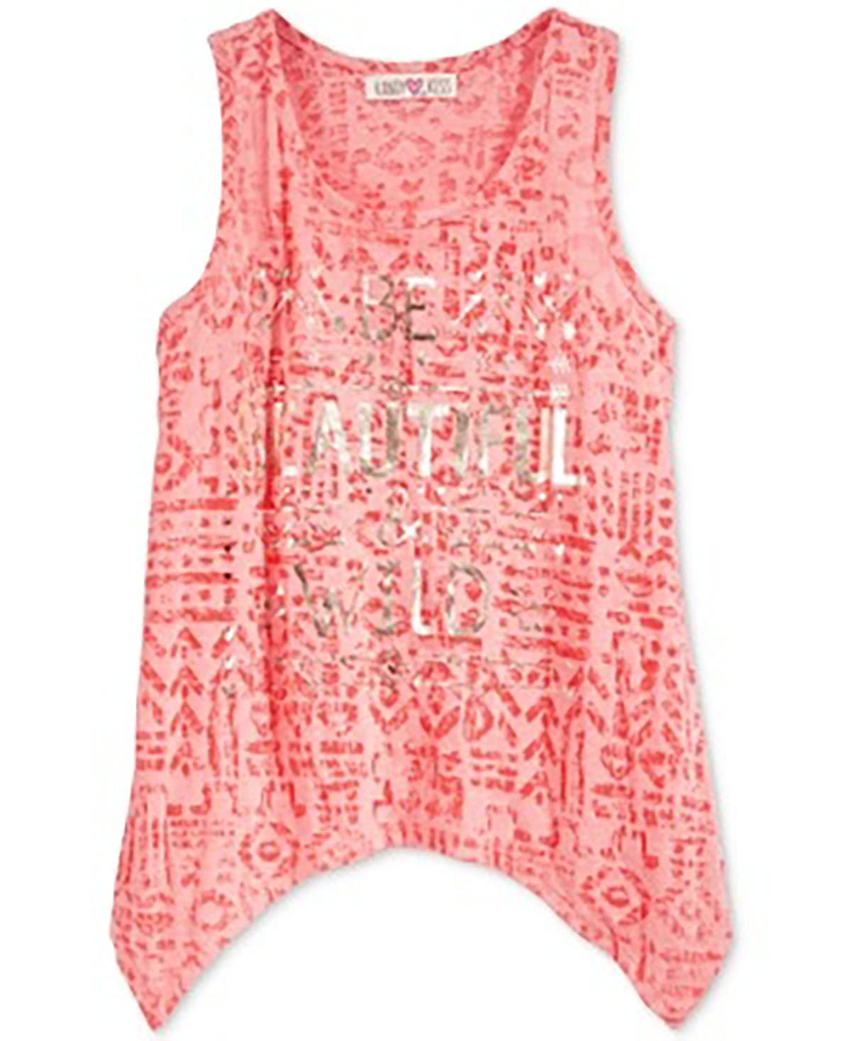Kandy Kiss Girls Graphic-Print Handkerchief-Hem Tank Top Coral