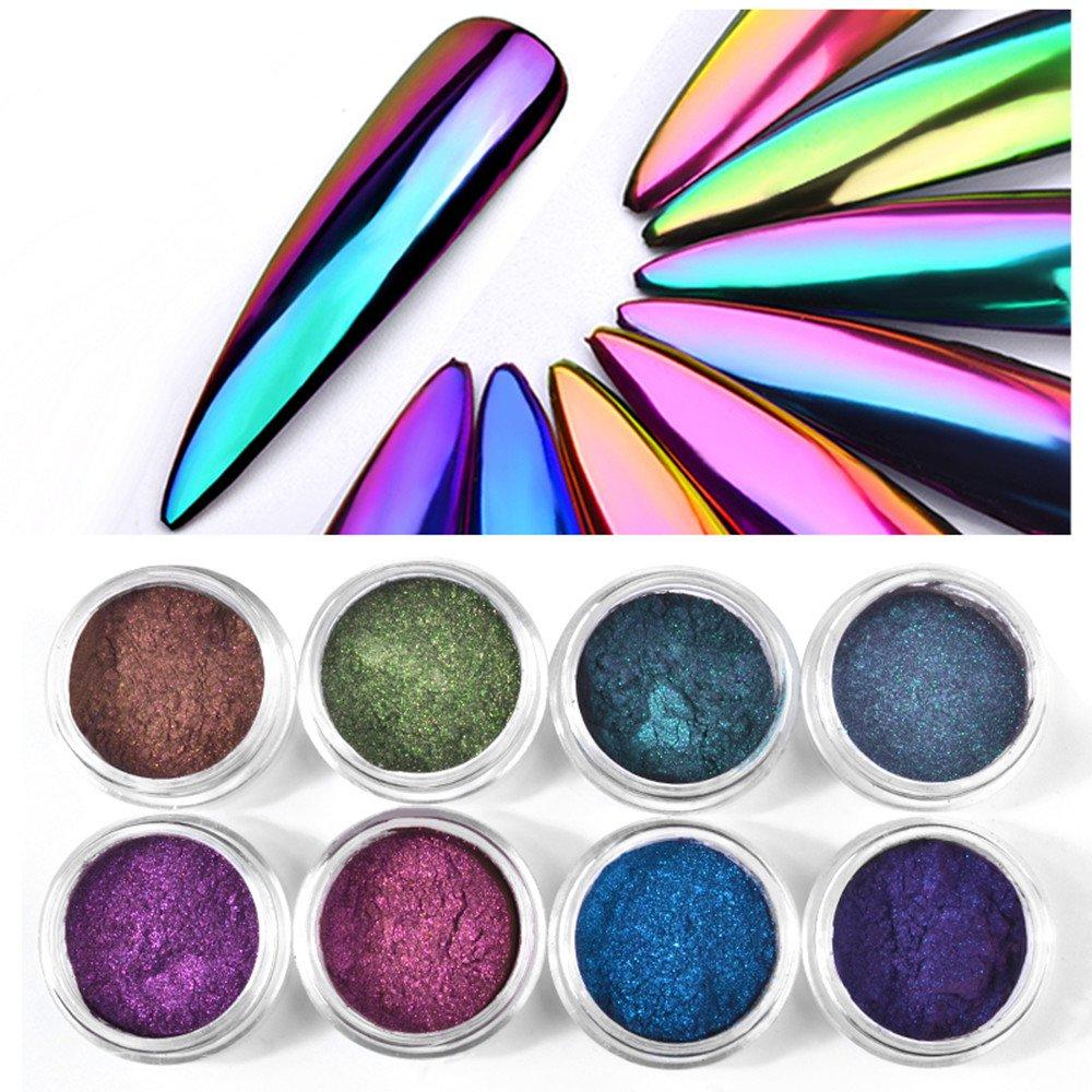 CHARMING MAY 8boxes Chameleon Powder Nail Chrome Pigment Mirror Glitter Powder 0.3G by CHARMING MAY