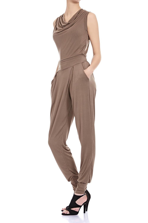 08449b747c1793 Laeticia Dreams Damen Jumpsuit Catsuit Einteiler Hose Wasserfall Overall S  M L XL