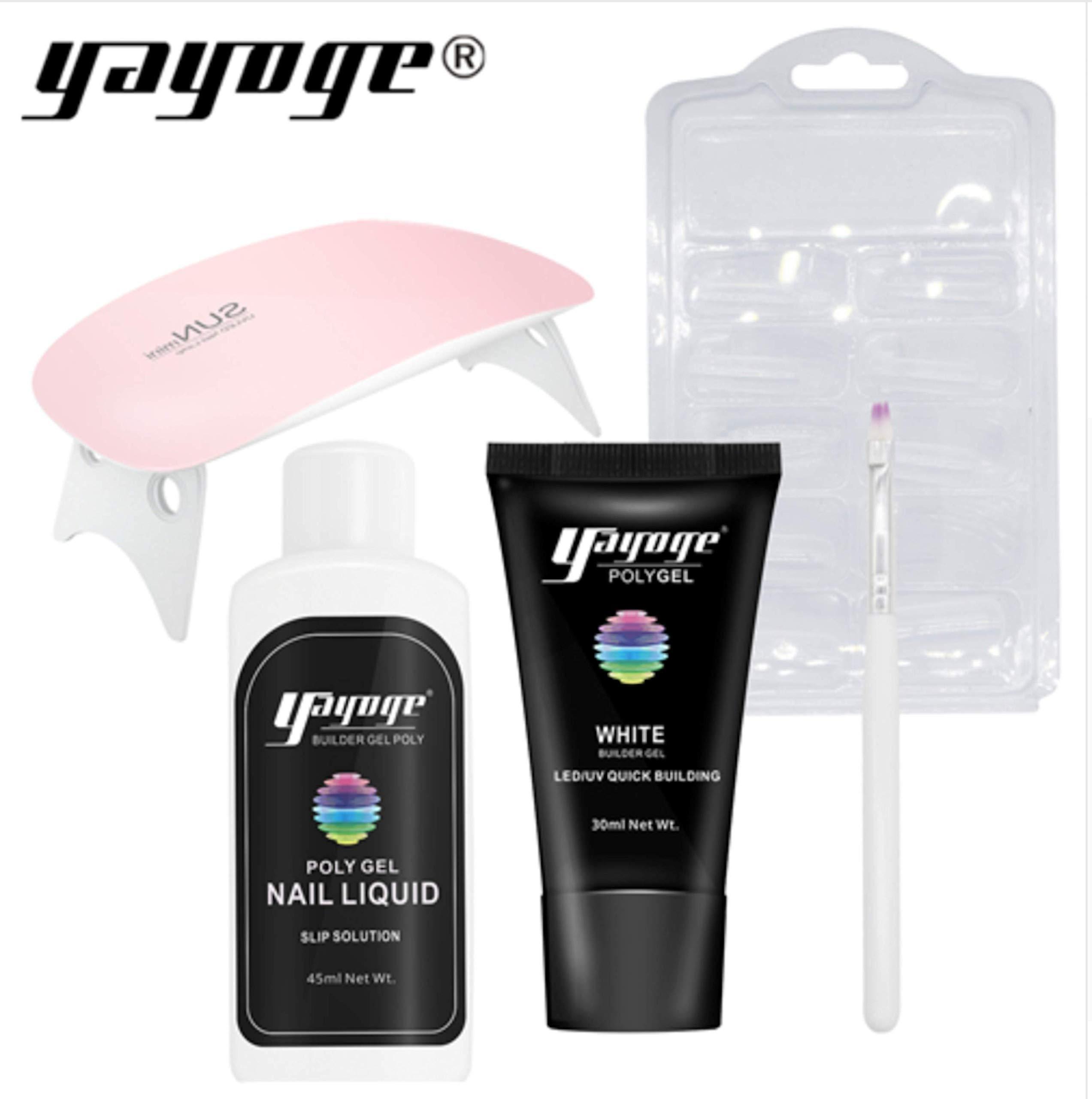 GenZ Poly Nail Gel Nail Extension 5 Pcs Starter Kit Gel Nail Enhancement Nail Thickening Tool UV LED Poly Nail Gel by GenZ