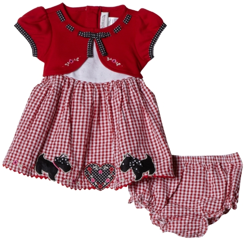 Youngland Baby-girls Newborn Heart and Scottie Appliqued Dress with Faux Cardigan Top, Red/White, 6-9 Months ()