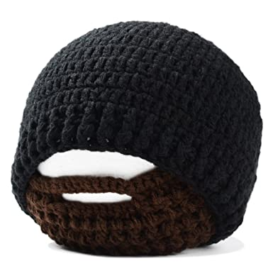 7d3418c1847 SODIAL(R) Handmade Knitted Crochet Beard Hat Bicycle Mask Ski Cap roman  knight octopus Cool Funny beanies Gift(black)  Amazon.co.uk  Clothing