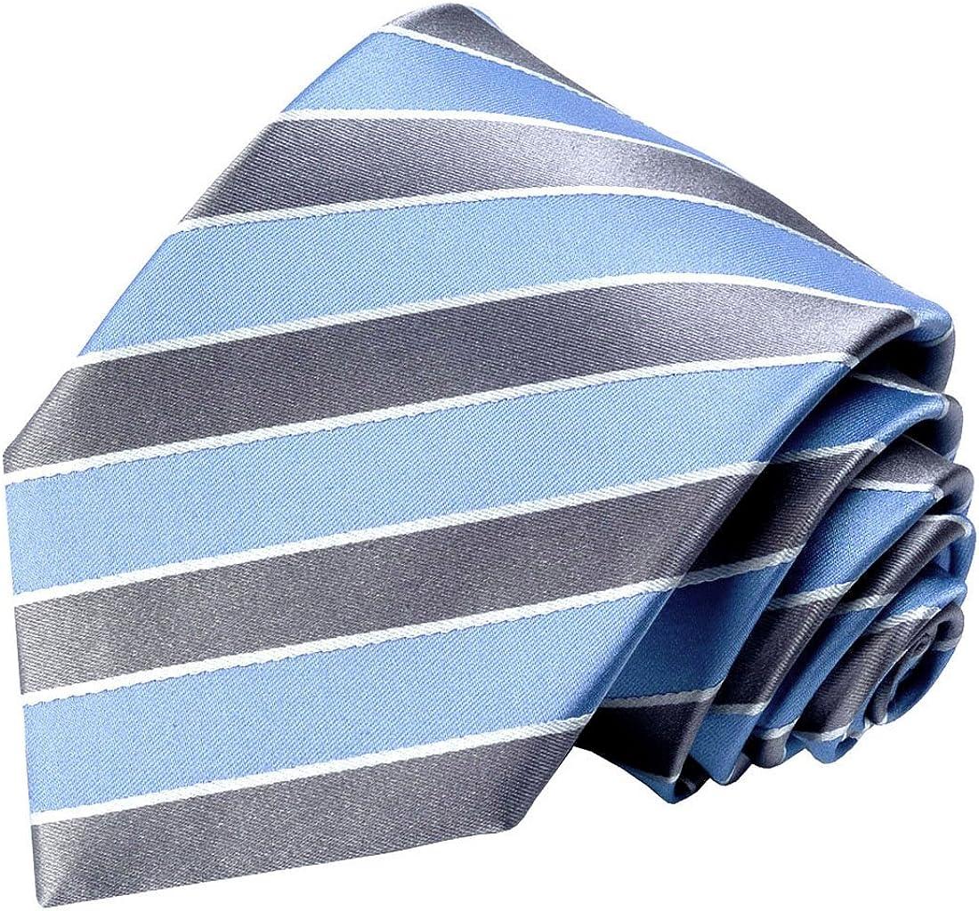 LORENZO CANA rayas – Color Azul Plata corbata de seda 100% – Marca ...