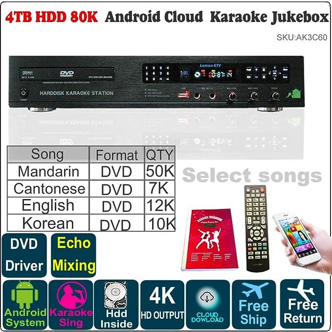 Amazon com: Android Karaoke Player, 4TB HDD 79K English+