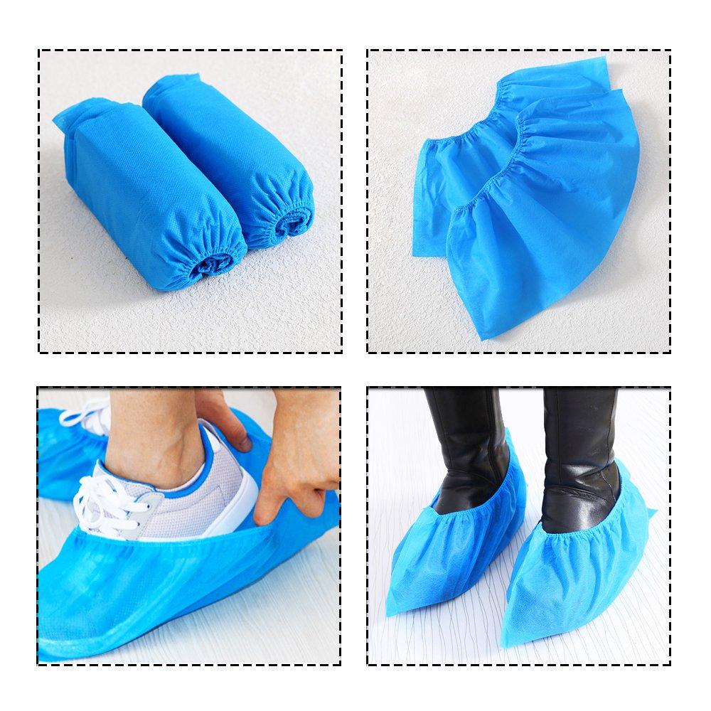ineith zapato cubre Cubrezapatillas desechables gruesos banda el/ástica transpirable a prueba de telas no tejidas alfombra para suelo protectores azul 100/pcs 50/pares