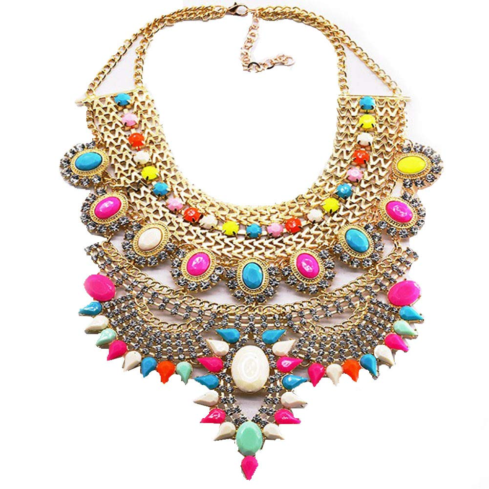 25cd574667aba NABROJ Fashion Chunky Necklace Luxury Crystal Bib Collar Necklace Costume  Jewelry for Women 5 Colors 1 Pc