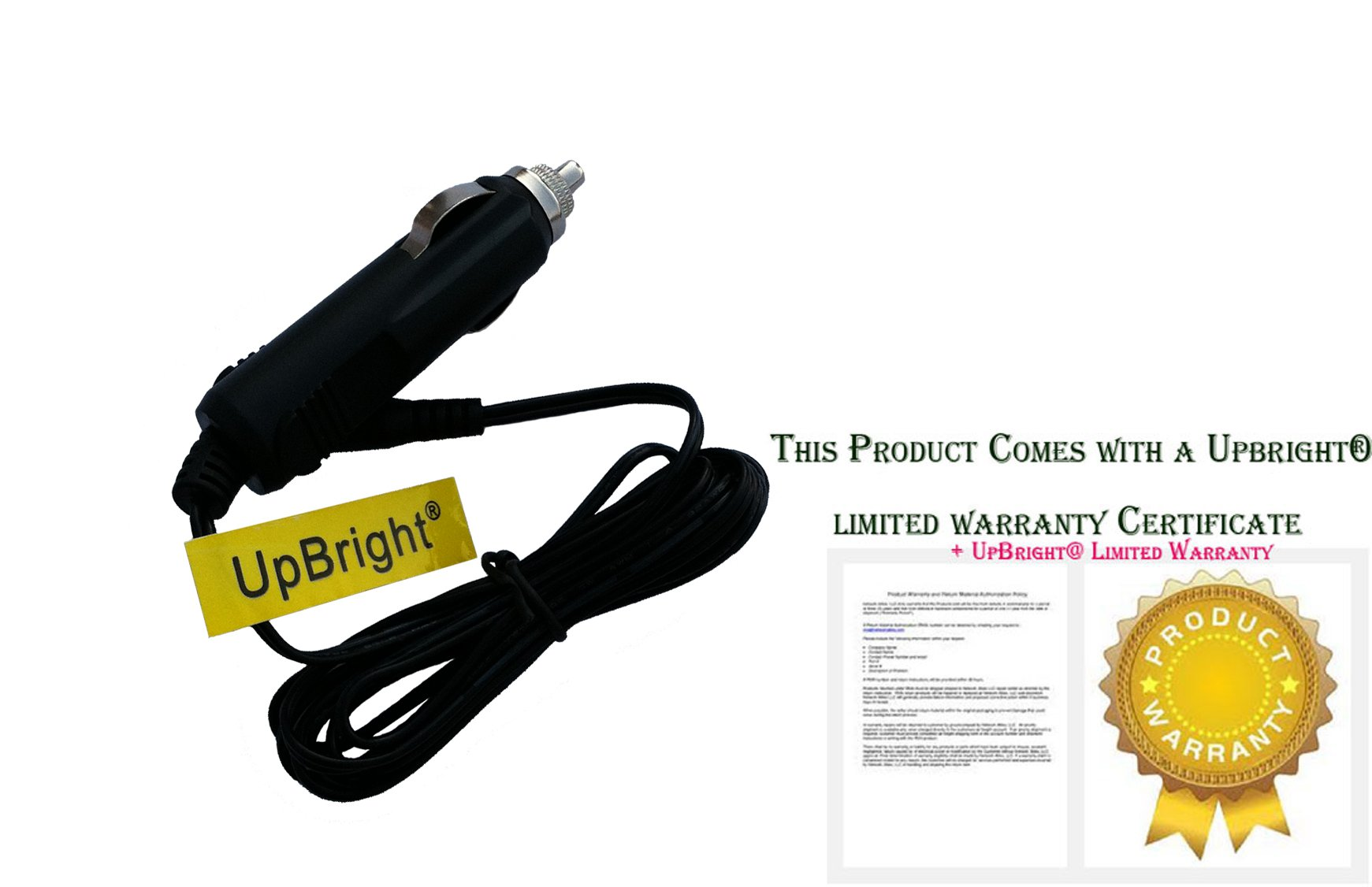 UpBright NEW Car DC Adapter For Onn ONA16AV008 7'', ONA17AV042 10'' Swivel Portable DVD Player Auto Vehicle Boat RV Camper Cigarette Lighter Plug Power Supply Cord Cable PS Battery Charger Mains PSU by UPBRIGHT (Image #1)