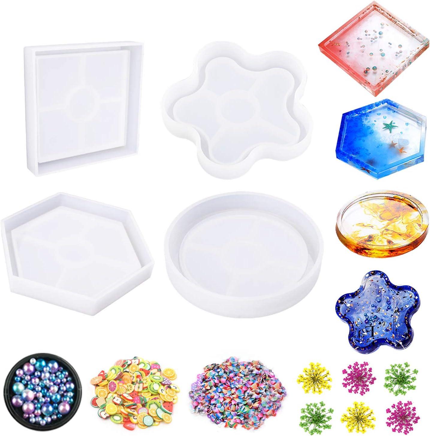 Jatidne - Juego de 4 moldes de resina epoxi para posavasos de resina con cuentas de flores secas y decoraciones de silicona para posavasos