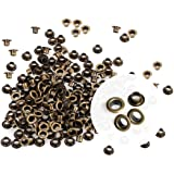 CRAFTMEMORE 3MM Hole 200PCS Tiny Grommets Eyelets Self Backing for Bead Cores, Clothes, Leather, Canvas (Antique Brass)