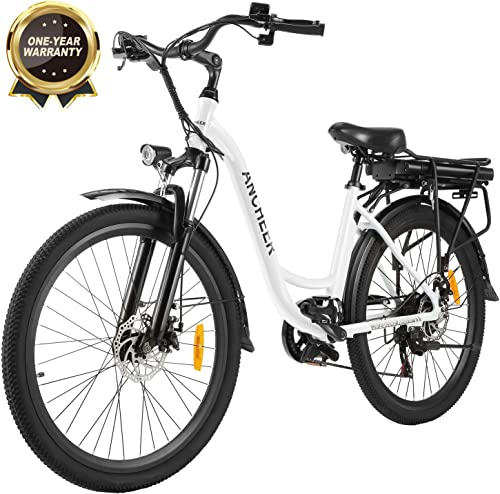 ANCHEER 26 Electric Cruiser Bike w Removable 12.5Ah Battery Pack Integrated with Frame City Ebike 35 Miles Range and Dual Disc Brakes Electric Bicycle