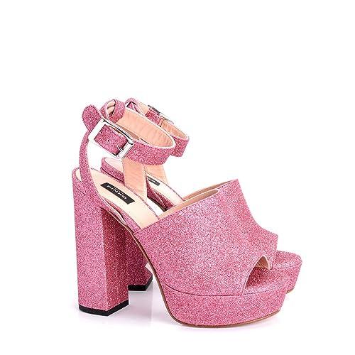 97f95a54f8 Pinko Extrabrut Sandalo Alto Glitter Donna Rosa Pelle: Amazon.it ...