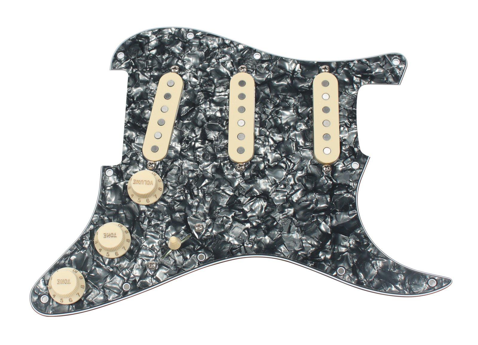 920D Custom Loaded Pickguard Fender Strat Rio Grande Vintage Tall Boy Black Prl
