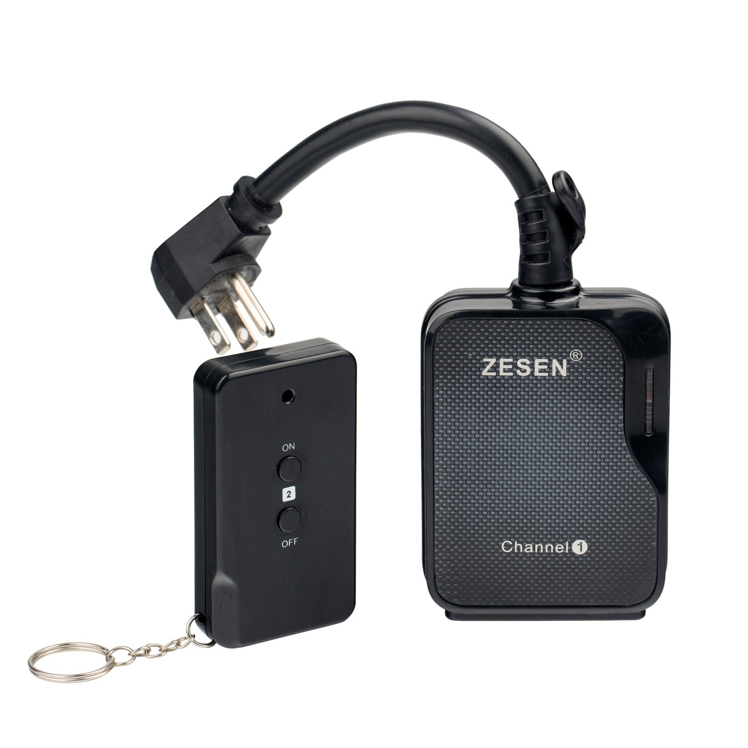 ZESEN Remote Control Outlet Timer Switch Waterproof for Household Appliances, 3-Prong Plug-in, FCC ETL Listed, Black