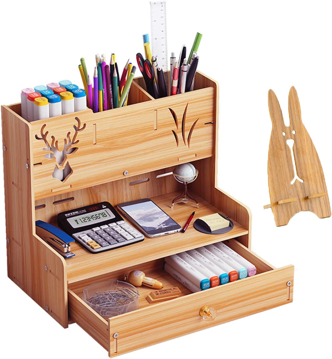 Marbrasse Wooden Desk Organizer, Multi-Functional DIY Pen Holder Box, Desktop Stationary, Easy Assembly, Home Office Supply Storage Rack with Drawer (B14-Cherry Color)