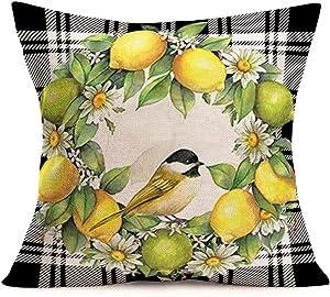 Tlovudori Summer Fresh Lemon Home Decor Throw Pillow Covers Black White Buffalo Check Plaid Lemon Daisies Wreath Robin Bird Cotton Linen Pillowcase Cushion Cover for Chair Bed18 x18 (Plaid-Lemon)