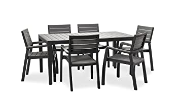 Keter Harmony Garden Furniture, Rectangular Patio Dining Table And 6 Pieces  Of Patio Furniture Armchair