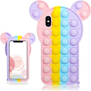 oqpa for iPhone Xs Max Case Cartoon Kawaii Funny Cute Fun Silicone Design Cover for Girls Kids Boys Teen Fashion Cool Unique Protective Aesthetic Fidget Mouse Bubble Cases (for iPhone Xs Max 6.5
