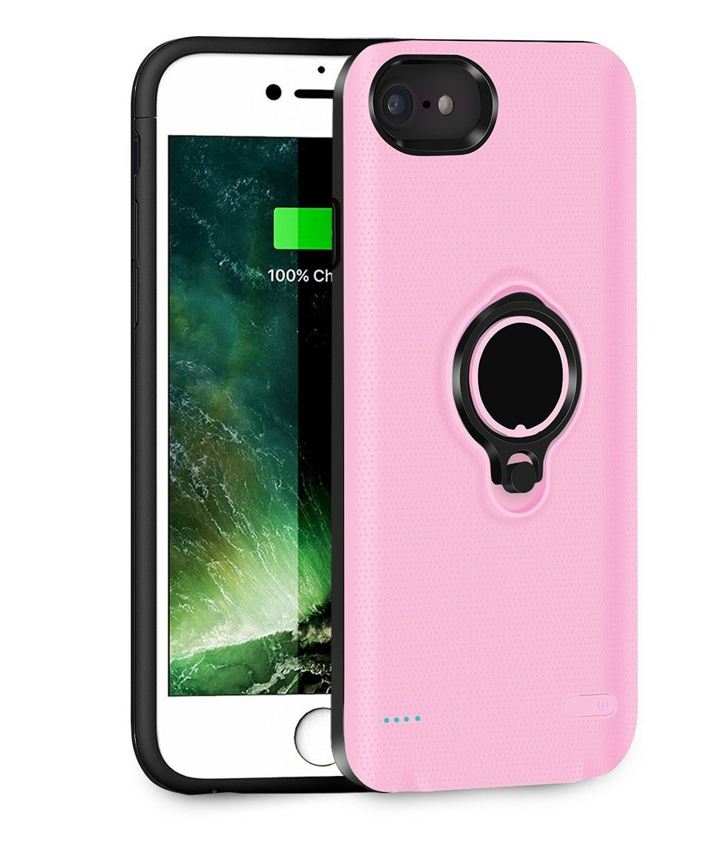 iphone 6 Plus 6s Plus Battery Case, Aiwako 7200mAh Portable Charging Case for iPhone 6 Plus&6s Plus&7 Plus&8 Plus(5.5 inch) with Ring Holder Kickstand Function Ultra Extended Battery Case Lightning Cable Input Mode - (Pink) aicase-7200-Pink