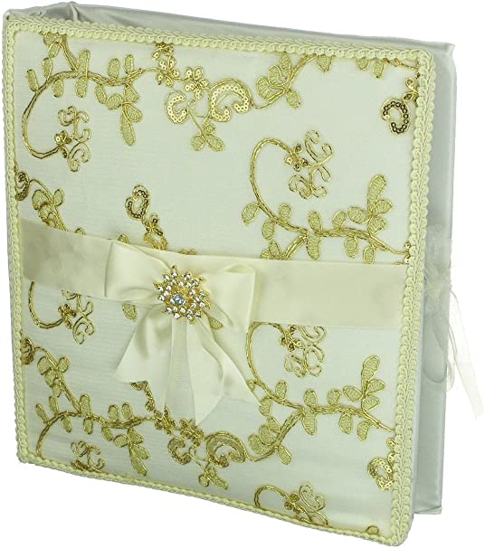 Amazon Com Divadesigns Spanish Wedding Decorative Album Gold Tone Metallic Embroidery And Padded Ivory Satin Cover Home Kitchen
